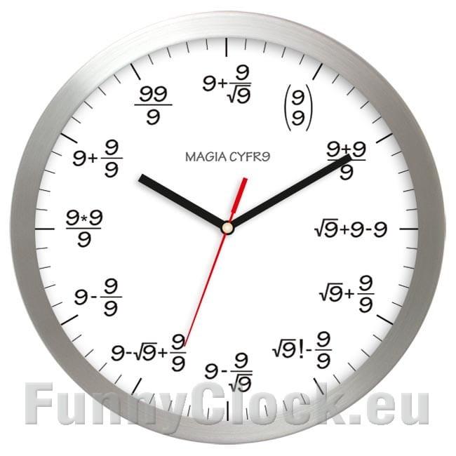 Maths aluminium wall clock magic 9