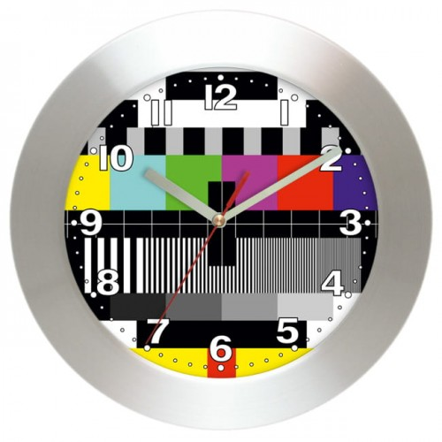TV test signal aluminium wall clock